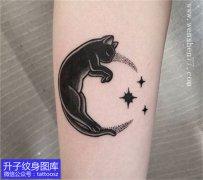 脚踝猫咪星星纹身图案图腾