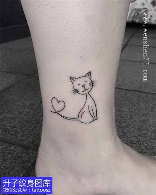 脚踝小清新简笔画猫咪纹身图案