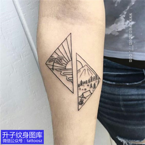 手臂小清新风景纹身图案
