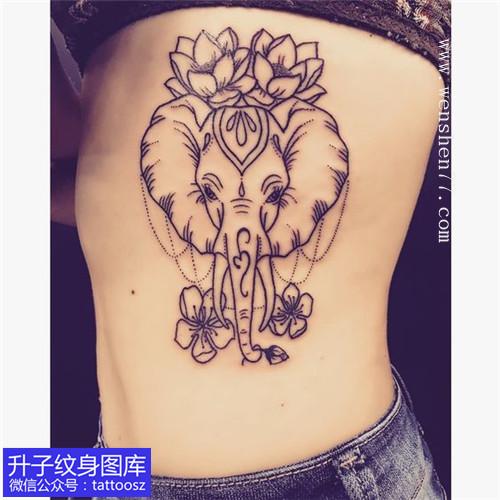 女生侧腰小可爱象纹身图案
