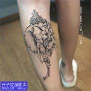 个性小腿后侧精致大象纹身图案