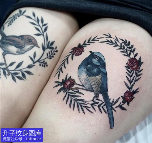 大腿植物动物花鸟纹身图案大全