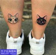 脚后跟小清新猫咪纹身图案大全