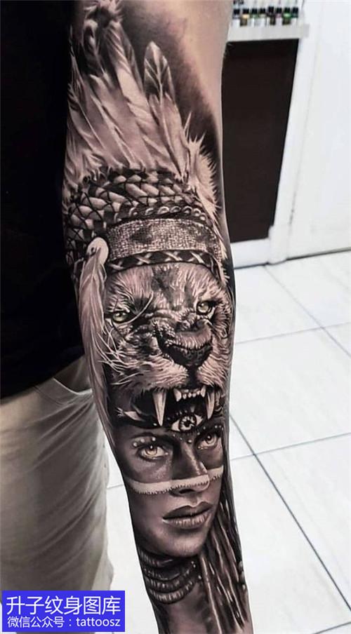 手臂写实黑灰印第安美女狮子纹身图案大全