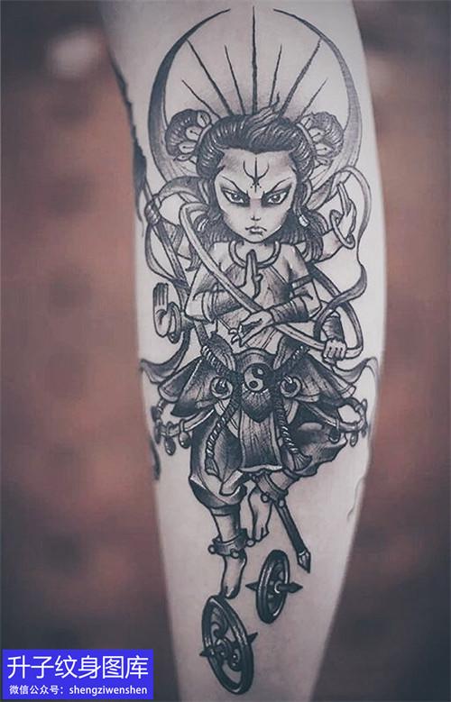小腿外侧哪吒纹身图案