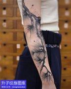 手臂水墨松树纹身图案