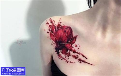 锁骨纹身 精致锁骨彩色植物花纹身图案