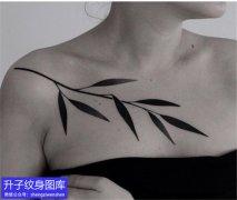 美女锁骨黑白树叶纹身图案