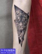手臂几何点刺老虎纹身图案