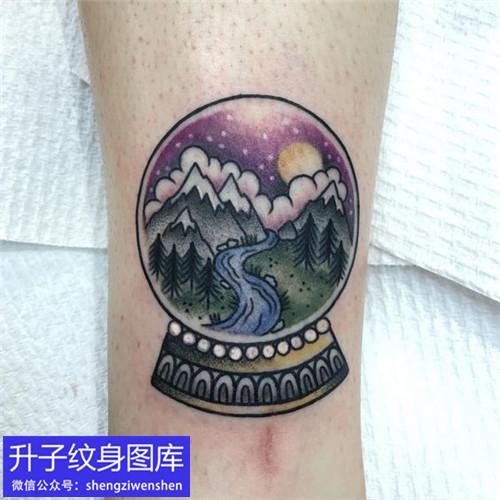 脚踝彩色风景纹身图案大全