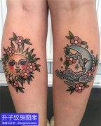 小腿后侧太阳月亮纹身