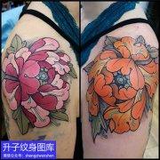 大臂外侧彩色牡丹花纹身图案