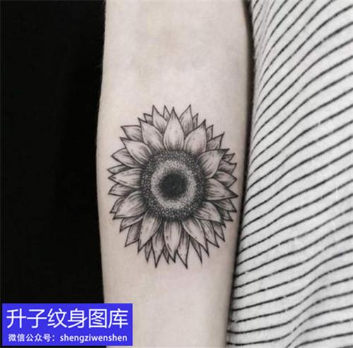 手臂内侧黑白向日葵纹身图案
