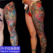 传统彩色龙花腿纹身图案