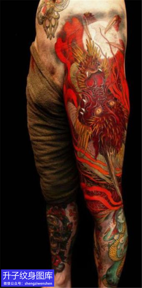 新传统花腿龙纹身日本黄炎作品
