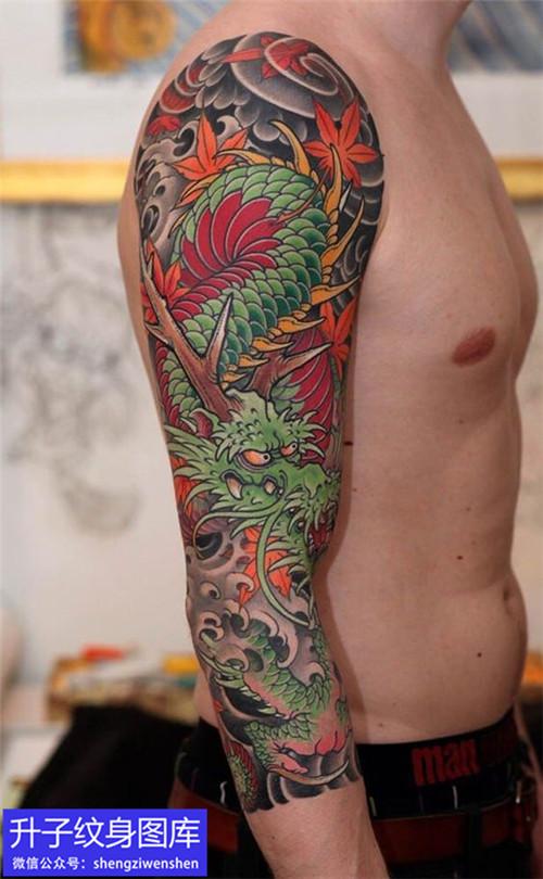 非常精致的老传统七分花臂龙纹身图案