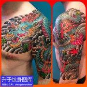 精品老传统半甲彩色龙纹身图案
