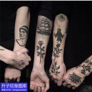 手臂old school植物玫瑰花纹身图案