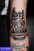 手臂内侧手与上帝之眼纹身图案