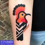 手臂彩色动物鸟纹身图案
