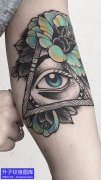 手臂内侧上帝之眼玫瑰花纹身图案