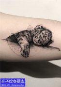 手臂黑暗系列老虎纹身图案