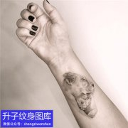 小姐姐手腕黑灰狮子纹身图案