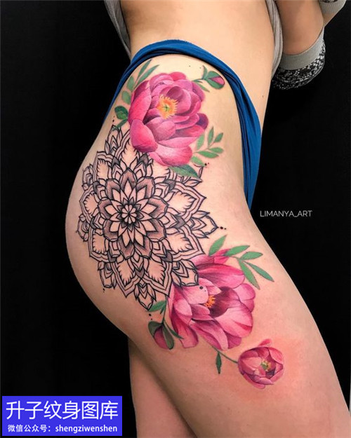 九街性感的大腿外侧梵花与彩色牡丹花纹身图案