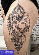 大腿狮子纹身图案