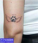 手臂天使翅膀与脚印纹身图案