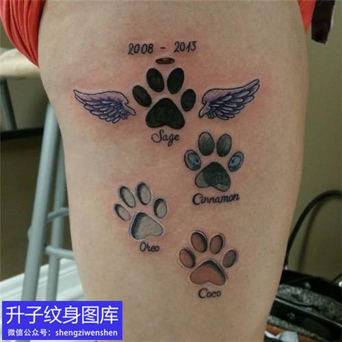 观音桥大腿外侧动物脚印纹身图案