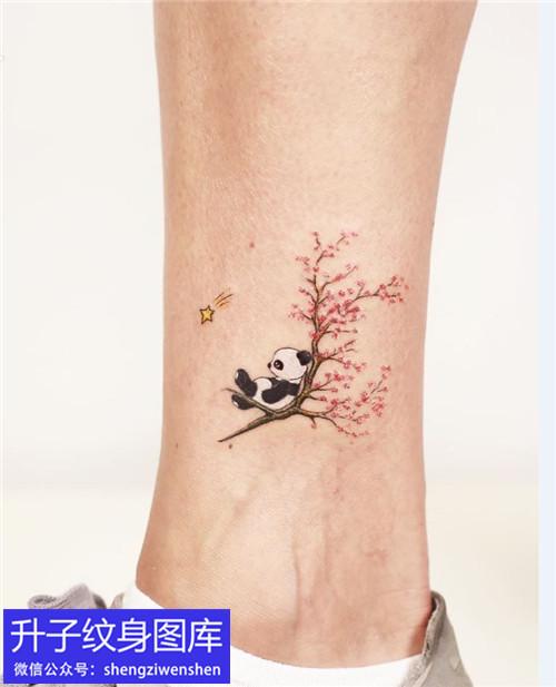 脚踝植物花草纹身图案
