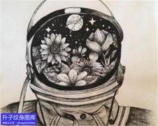 黑暗系列宇航员纹身手稿图案