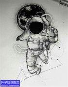 黑灰宇航员纹身手稿图案