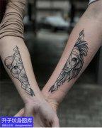 手臂情侣纹身狮子与老虎纹身图案