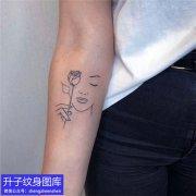 三张素花人物线条小清新纹身图案