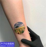 脚踝彩色植物风景向日葵纹身图案