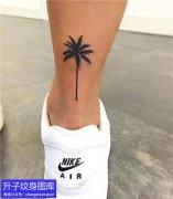 脚后跟椰树纹身图案