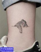 脚踝动物可爱小老虎纹身图案