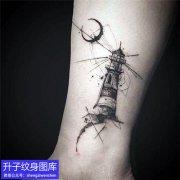 重庆纹身培训脚踝灯塔纹身图案