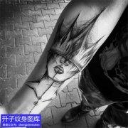 手臂暗黑系头像纹身图案