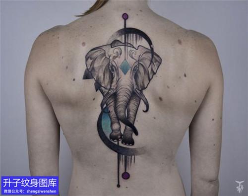 美女后背大象纹身图案