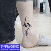 脚踝图腾双鱼纹身图案