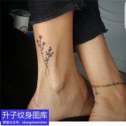 脚踝植物小清新纹身图案