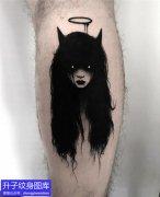 小腿黑暗幽灵纹身图案