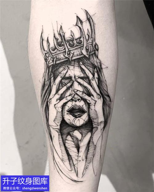 手臂暗黑头像纹身图案