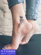 脚踝图腾花纹身图案