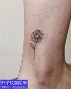 脚踝向日葵纹身图案