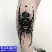 小腿外侧暗黑系列蜘蛛精纹身图案