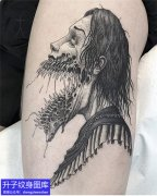 腿部丧尸纹身图案